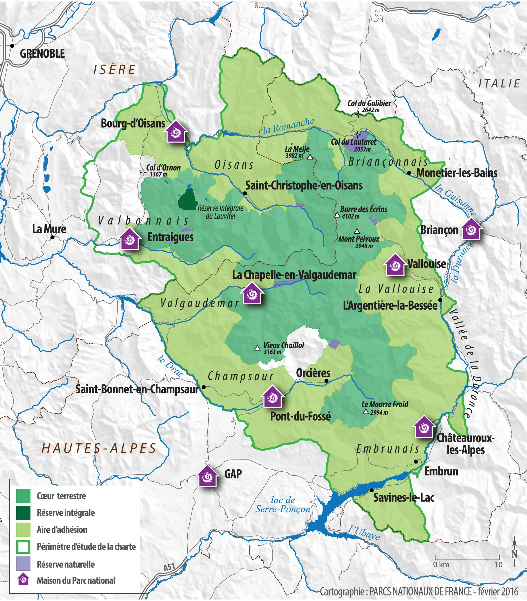 carte du parc national des Ecrins
