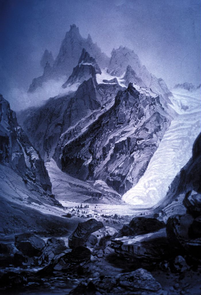 Glacier Blanc et Glacier Noir se rejoignant au Pré de madame Carle (vers 1840) - Gravure ancienne originale au musée d'Annecy