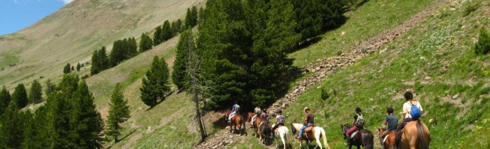 Balade à cheval sur le chemin du Roy - Le Monêtier les Bains -©  Cyril Coursier - Parc national des Ecrins