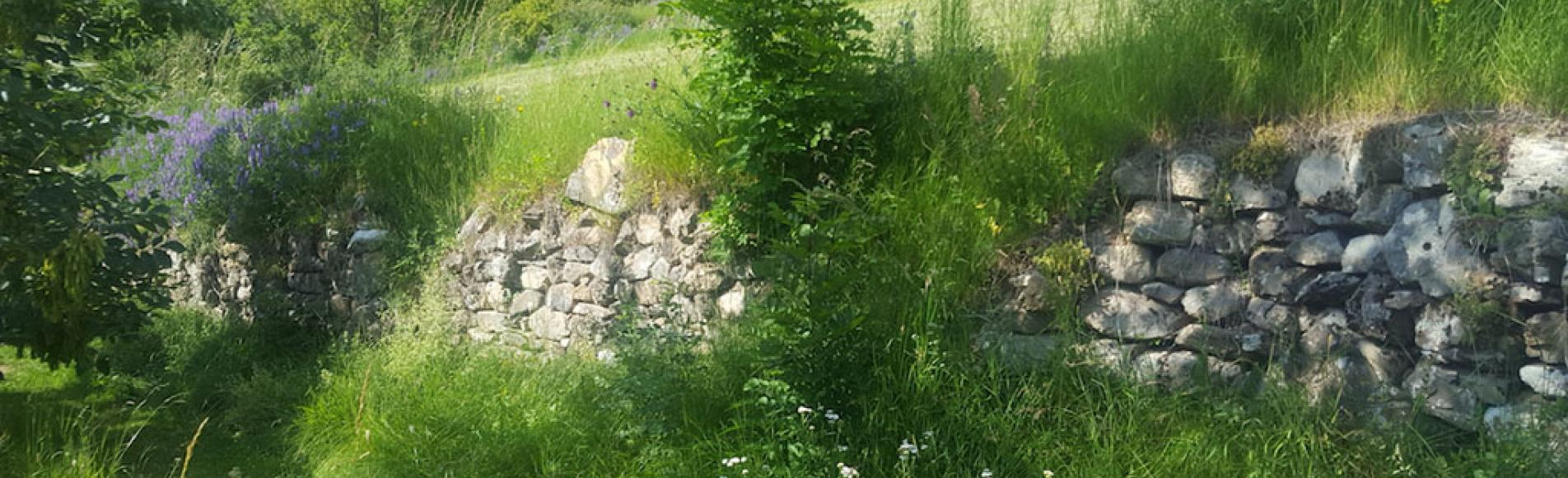 Chantier formation restauration muret Reallon - avant restauration - août 2018 - © S. Raymond - Parc national des Ecrins