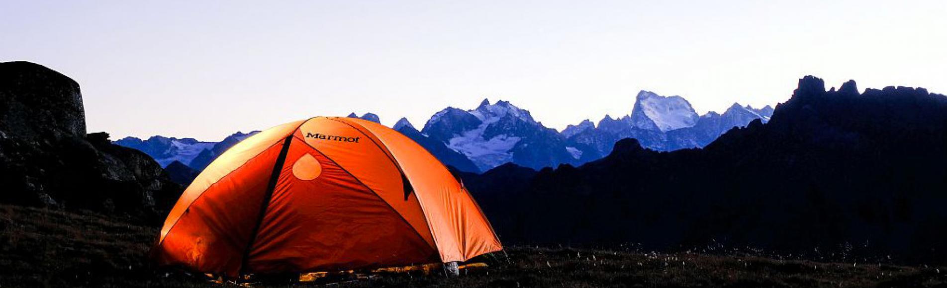 Bivouac vue sur le massif des Ecrins - photo Mirelle Coulon - Parc national des Ecrins
