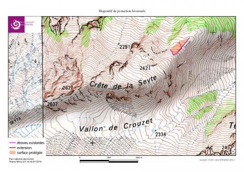 carte site travaux itinéraire Seyte - protection tétras lyre - juin 2016- © T-Maillet - Parc national des Ecrins