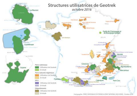 Carte des utilisateurs de Geotrek en octobre 2016