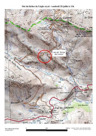 La carte de localisation du lâcher du 28 juillet 2017