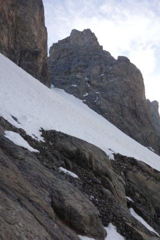 Glacier carré, grand pic et doigt de Dieu vus de la station de renoncules © C.Dentant - Parc national des Écrins