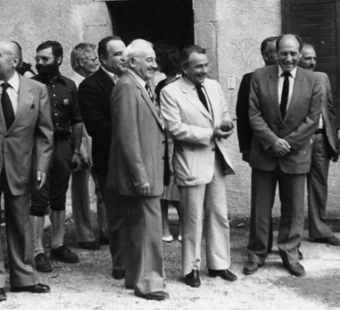 Image archives PNE - Robert de Caumont, à droite sur l'image - Valbonnais - PNE sous la présidence de Paul Dijoud