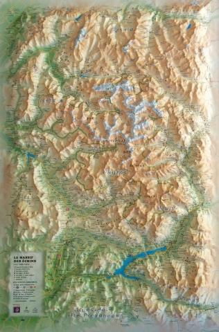 Carte en relief - Parc national des Écrins