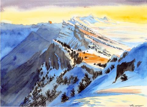 Vercors, aquarelle Alexis Nouailhat - massif des Écrins
