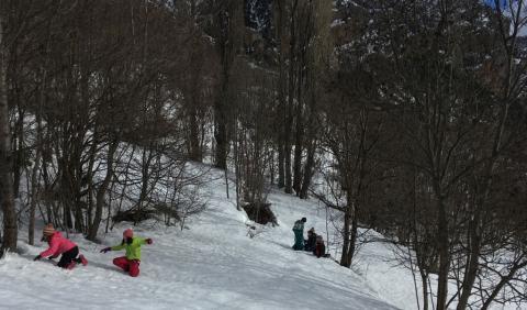 sortie scolaire ecole  Freissinières aux abords de l'endroit où la dépouille du loup a été retrouvée - janvier 2018- photo JP Telmon - Parc national des Écrins