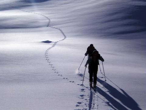 traces et skieurs - R Chevalier  - Parc national des Ecrins