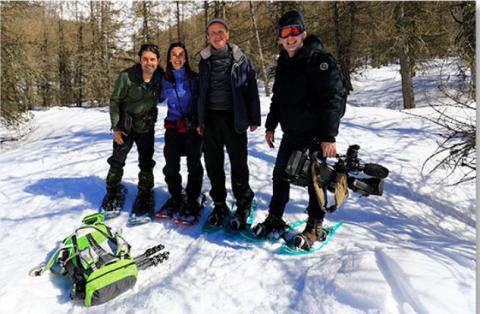 David Allemand, en tournage dans les Ecrins avec France 2 en mars 2018