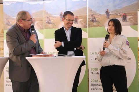 10 ans de partenariat entre les parcs nationaux de France et la GMF - avril 2018 -  Témoignage d'Emmanuelle Brancaz et Pierre Commenville, du Parc national des Ecrins - photo M.Monsay - AFB 2018