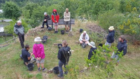 Chantier formation restauration muret Reallon - août 2018 - © S. Raymond - Parc national des Ecrins