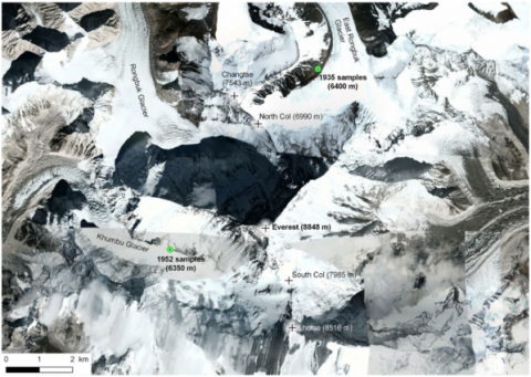GlacierHub- Satellite images of the Mount Everest region with the locations of both the 1935 and 1952 expeditions samples (Source: Alpine Botany/DigitalGlobe/Google).