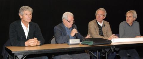Thierry GRAND (Directeur), Jacques GUILLOTEAU (président) , Christian PICHOUD (président de la communauté de communes), Gilles STRAPPAZZON (CD 38)