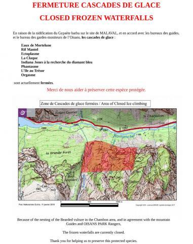 Panneau interdiction cascades de glace - janvier 2019 - Site Malaval