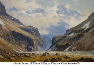 """Peinture de Charles Bertier - XVII ème siècle - """"Vallée du Vénéon"""" - Musée de Grenoble"""