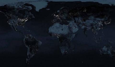 image satellite monde nuit -lumière 1970