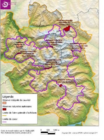 Les six réserves naturelles nationales gérées par le Parc national des Écrins avant l'intégration de deux d'entre elles fin 2019