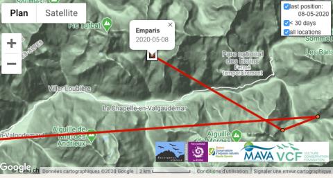 Carte vol Emparis, gypaète né en 2019 dans les Ecrins, au 8 mai 2020