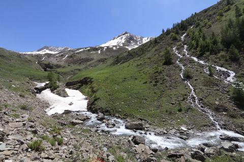 Chargès, restes d'avalanche - 24 mai 2020 - photo M.Bouvier - Parc national des Ecrins