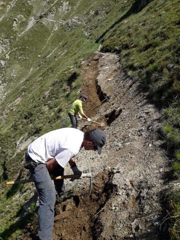 Chantier Chemin Tirière - Valgaudemar - après hiver mai 2020 - photo O.Warluzelle - Parc national des Ecirns