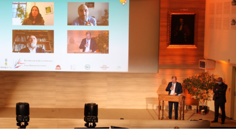 Déclaration finale. De gauche à droite et de haut en bas : en visio, Hélène Soubelet (FRB), Arnaud Schwartz (FNE), Bernard Chevassus-au-Louis (Humanité-Biodiversité) et dans la salle, Dr Pierre Souvet (ASEF) et Dr Jean-Yves Gauchot (FSVF)