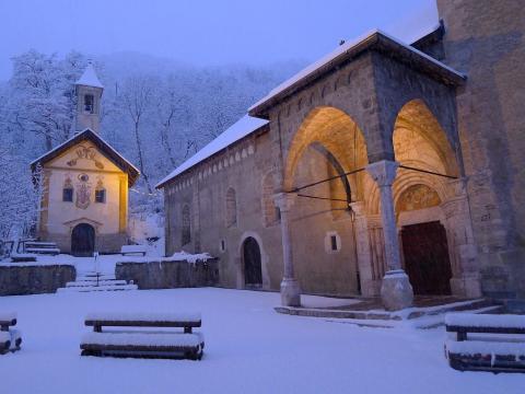 Chute de neige à Vallouise au petit matin ©Thierry Maillet - Parc national des Ecrins