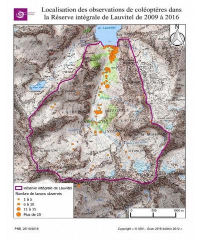 Localisation des observations de coléoptères dans la Réserve intégrale de Lauvitel de 2009 à 2016