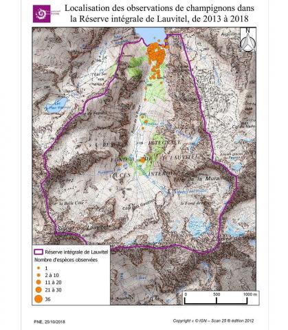 Localisation des observations de papillons dans la Réserve intégrale de Lauvitel de 2013 à 2018