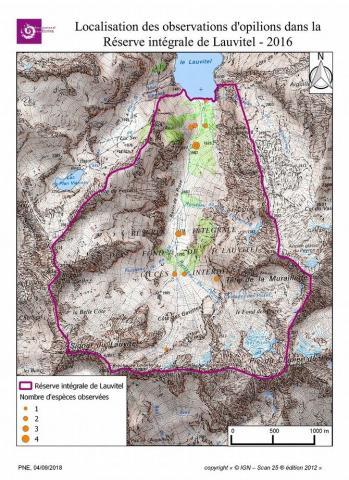 Localisation des observations d'opilions dans la Réserve intégrale de Lauvitel 2016