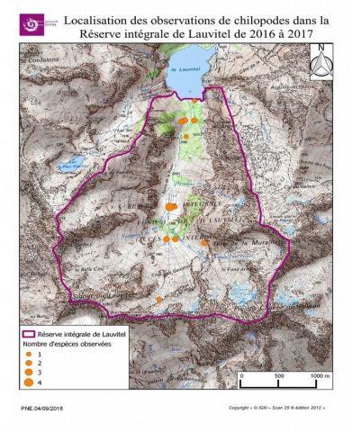 Localisation des observations des chilopodes dans la Réserve intégrale de Lauvitel de 2016 à 2017