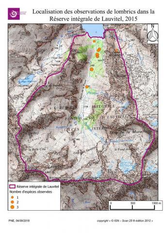 Localisation des observations de lombrics dans la Réserve intégrale de Lauvitel, 2015