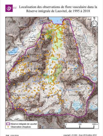 Localisation des observations de flore vasculaire dans la Réserve intégrale de Lauvitel de 1995 à 2018