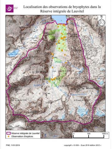 Localisation des observations de bryophytes dans la Réserve intégrale de Lauvitel