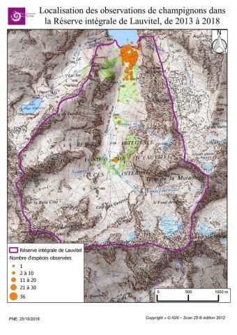 Localisation des observations de champignons dans la Réserve intégrale de Lauvitel, de 2013 à 2018