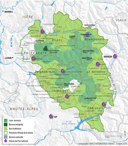 2016 - Carte d'adhésion des communes à la charte du Parc national des Ecrins