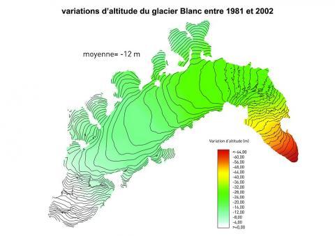 Bilan volumique du glacier Blanc entre 1981 et 2002 ©Parc national des Ecrins