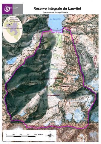 Carte de la réserve intégrale du Lauvitel ©Parc national des Ecrins