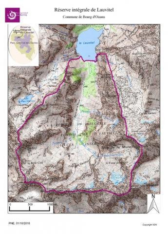 Carte de la réserve intégrale de Lauvitel ©Parc national des Ecrins