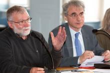 Bernard Héritier, nouveau président du CA du PNE et Bertrand Galtier, directeur -   dec 2015 © P. Saulay - Parc national des Ecrins