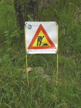 Panneau d'info travaux sentiers - D.D'houwt - Parc national des Ecrins