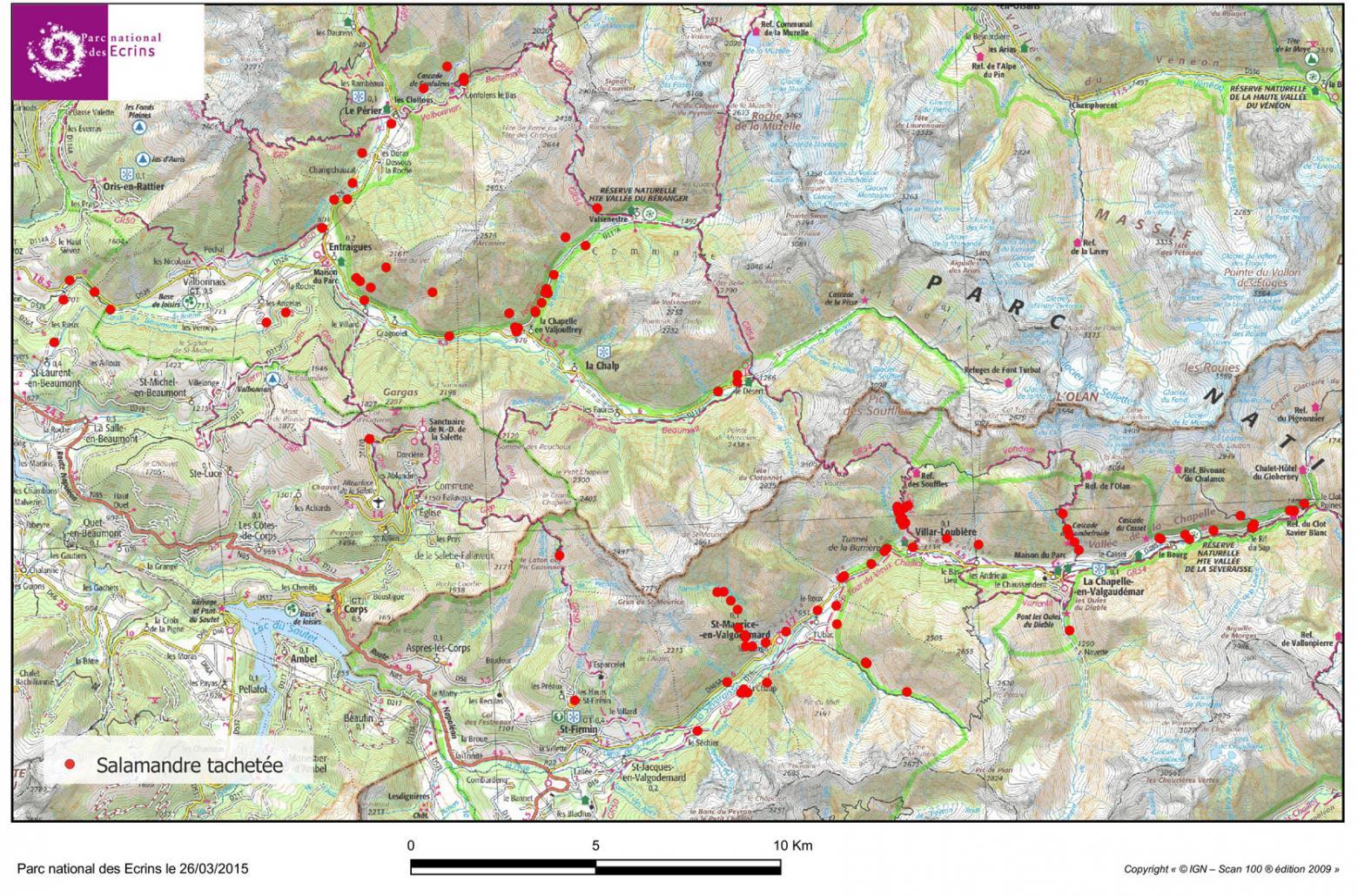 observations salamandre tachetée  - Parc national des Ecrins entre 2005 et mars 2015
