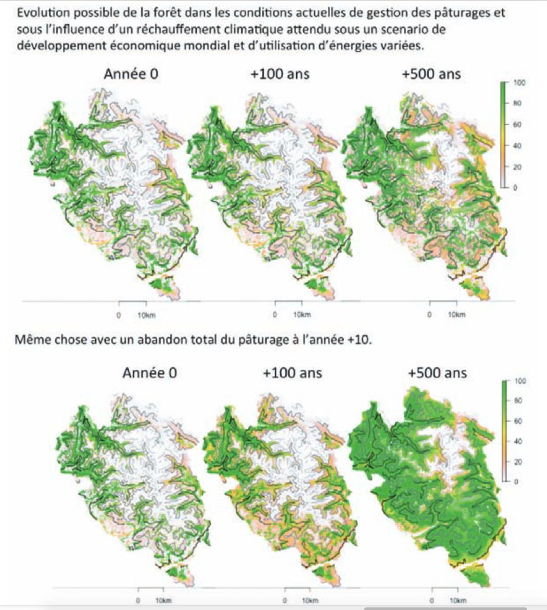 évolution prospective de la forêt dans le Parc national des Ecrins - LECA