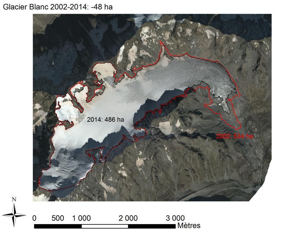 Glacier Blanc 2002-2014 - variation surface - photo aerienne - analyse E-Thibert-IRSTEA