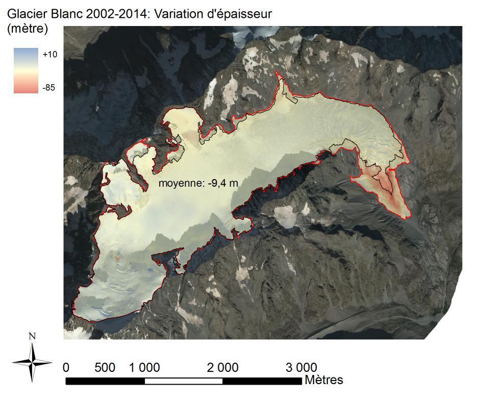 Glacier Blanc 2002-2014 - variation épaisseur - photo aerienne - analyse E-Thibert-IRSTEA