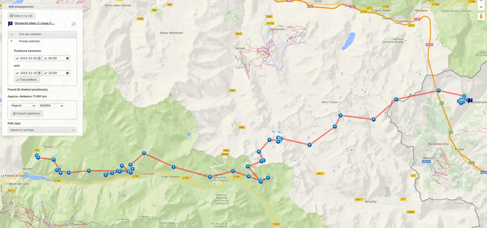itinéraire Dimanche du 2 au 9 dec 2015