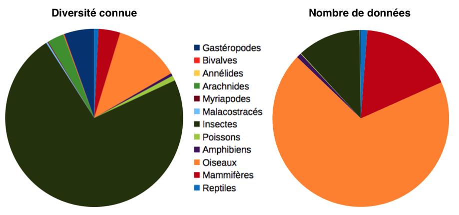 Nombre d'espèces et nombre de données par taxon -Parc national des Écrins