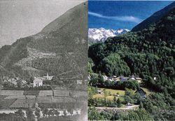 La chapelle en Valgaudemar - photo constat 1880-2004 - carte postale ancienne et reprise de vue Dominique Vincent - PNEent