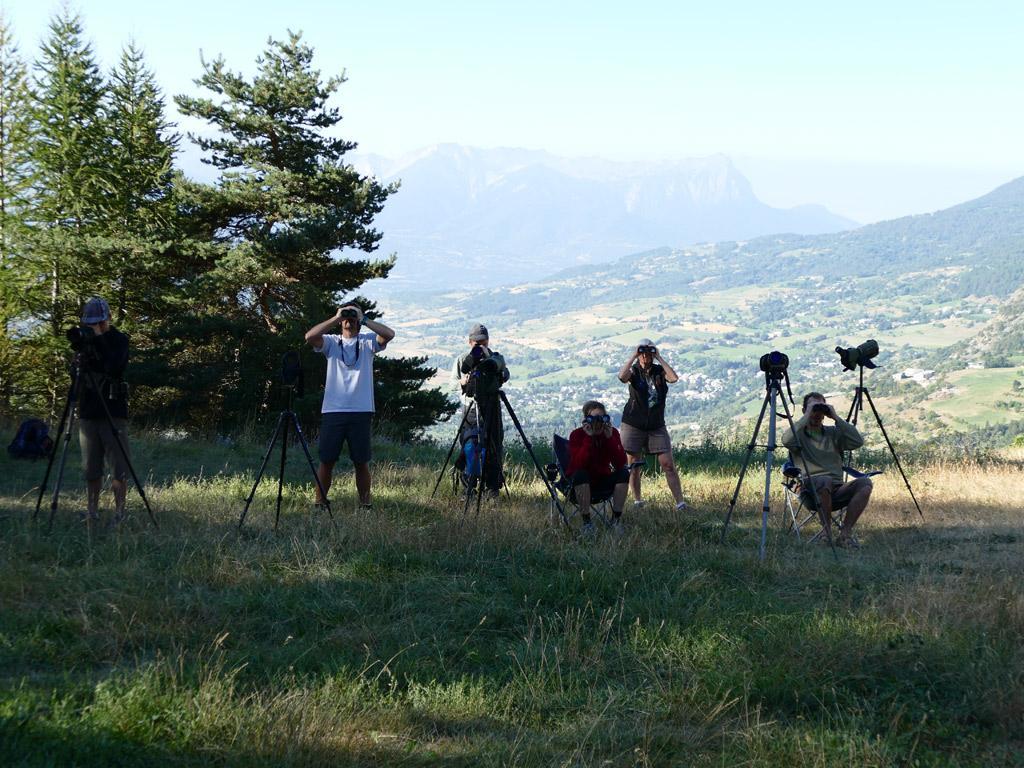 Les observateurs - Comptage migrateurs - Embrunais - août 2016 © Victor Zugmeyer - Parc national des Ecrins